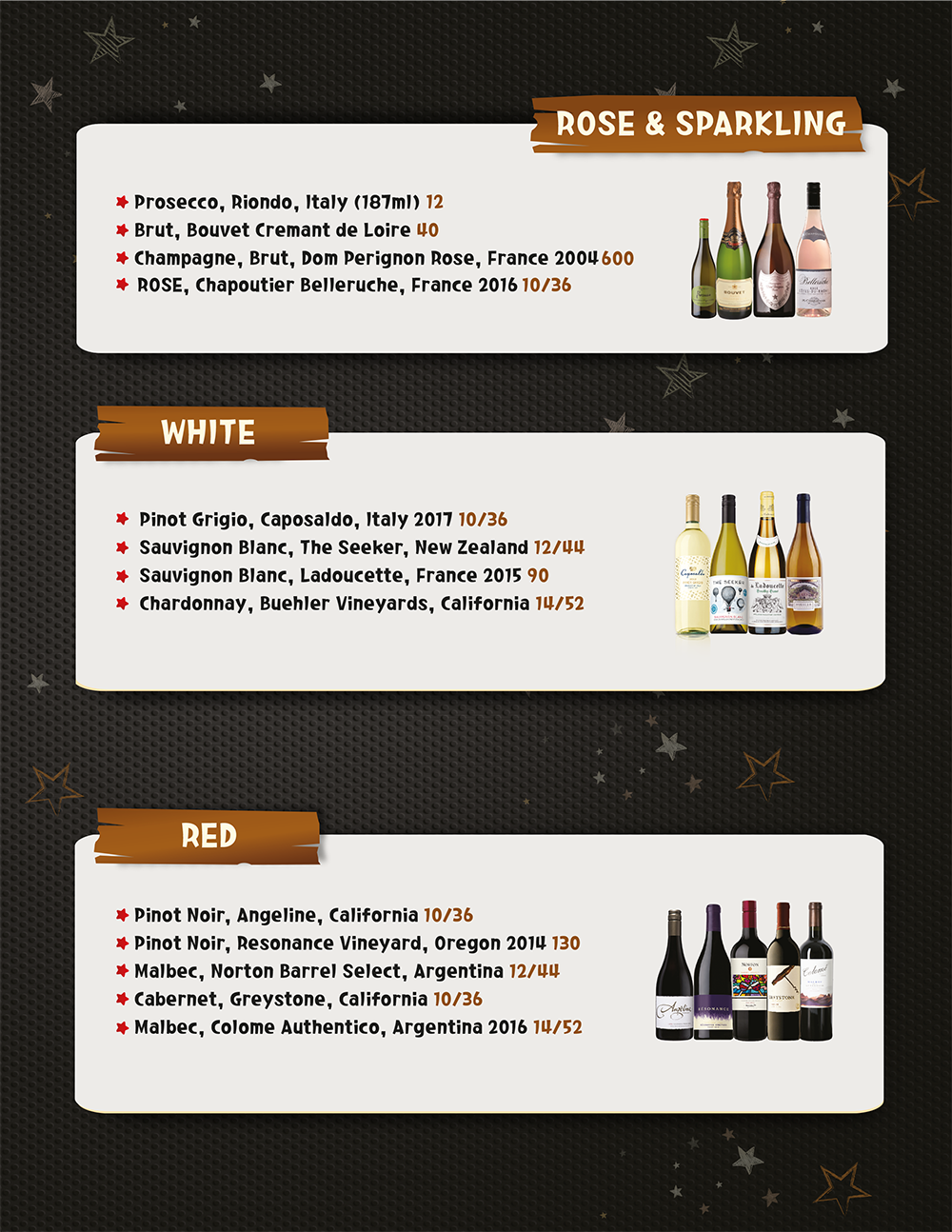 Wine Drink Menu Page