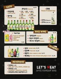 Lets Meat Soju Menu