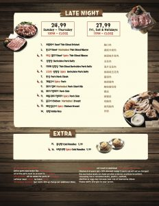 Late Night Menu at Let's Meat BBQ in NYC